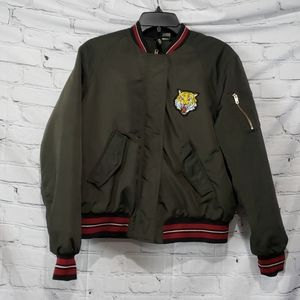 H&M Olive Green bomber jacket with TIGER patch
